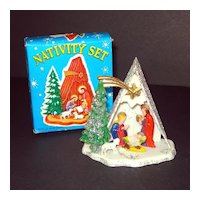 1960s Hard Plastic Christmas White Nativity Scene Mint in Box
