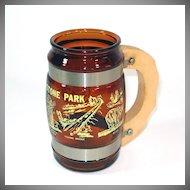 Siesta Ware Yellowstone Park Souvenir Amber Glass Beer Mug