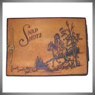 Leather Pyrographic Indian Album With Christmas Cards Inside