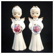 1950s Japan Pair Angel Figurines Holding Bouquets or Nosegays