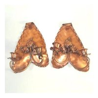 Pair Gregorian Copper Leaf Double Candle Sconces