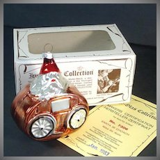 Inge Santa in Coach 1983 Glass Christmas Ornament in Box