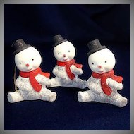 3 Composition 1950s Snowman Christmas Ornaments