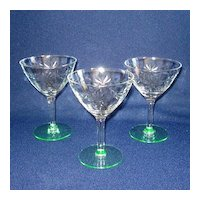 3 Standard Glass Daisy Cutting Green Stem Saucer Champagne Goblets