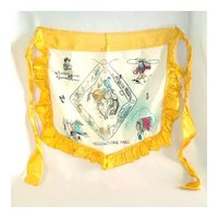1940s Yellowstone Souvenir Ruffled Satin Apron