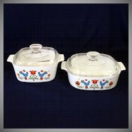 Corning Ware Country Festival 2 Covered Casseroles