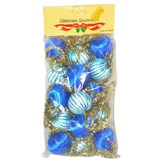 Blue Satin Ball Gold Tinsel Christmas Garland Mint in Package