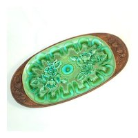 1960s Treasure Craft Green Blue Pottery Oval Serving Platter 17.5 Inches
