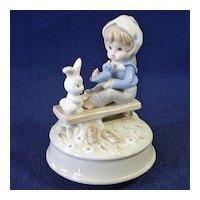Girl With Bunny, Bluebird Sears Porcelain Music Box Figurine