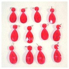 Dozen Red Plastic Drop Prisms