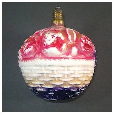 Fruit Basket Large Figural Milk Glass Christmas Light Bulb Working