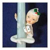 Christmas Pixie Girl Ceramic Candle Climber Figurine