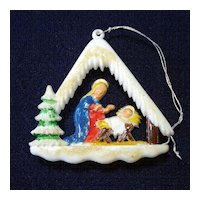 1950s Layered Plastic Nativity Stable Scene Christmas Ornament