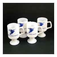 Milk Glass Eagle Pedestal Mugs Set of 4 John Denver Song Lyrics