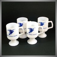 Milk Glass Eagle Pedestal Mugs Set of 4 John Denver Song Lyrics