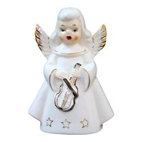 1950s Singing Christmas Angel With Violin Figurine