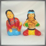 Large Ceramic Indian Couple Salt Pepper Shakers Wales Japan