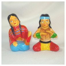 Large Ceramic Indian Couple Salt Pepper Shakers Wales Japan