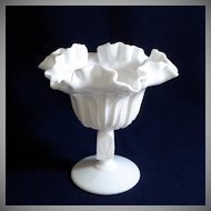 Fenton Cactus Milk Glass Ruffled Compote