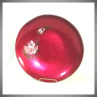 Large Magenta Anodized Hammered Aluminum Bowl Painted Roses