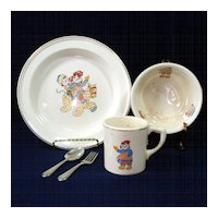 Crooksville 1941 Raggedy Ann Andy Child's Feeding Dish Set
