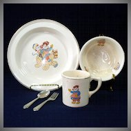 Crooksville 1941 Raggedy Ann Andy Child's Feeding Dish Set