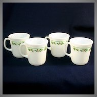 4 Corning Pyrex Glass Christmas Holly Days Coffee Mugs