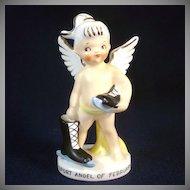 1950s Japan Porcelain February Sport Angel Figurine Ice Skater