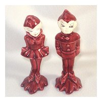 Gilner Pixies Maroon Pottery Salt Pepper Shakers