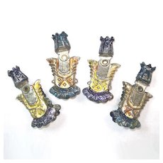 Antique Tin Shield Swivel Head Christmas Candle Holder Clips