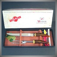 English Sheffield Bakelite Faux Antler Meat Carving Set Mint in Box