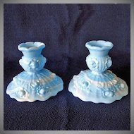 Fenton Blue Marble Rose Candlesticks and Bud Vase