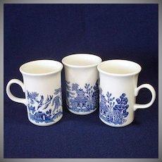 Churchill England Blue Willow Set 3 Coffee Mugs