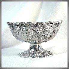 Embossed Flowers Fruit Silverplate Pedestal Bowl Compote