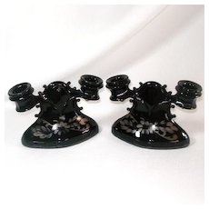 L.E. Smith Mt Pleasant Black Amethyst Double Candlesticks With Flowers
