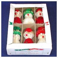 Box 60s Honeycomb Tissue Santa Snowman Christmas Ornaments