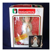 Double Glo 1976 Lighted Angel Christmas Tree Topper in Box