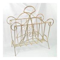 Mid Century Scrolly Brass Wire Magazine Rack