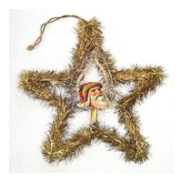 Scrap Santa in Wired Tinsel Star Antique Christmas Ornament
