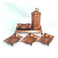 Gregorian Copper Smoking Set - Stand, Cigarette Dispenser, Ashtrays