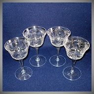 4 Floral Lattice Cut Crystal 6 Ounce Wine Cocktail Goblets