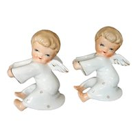 Ceramic Christmas Angel Candle Huggers Climbers Pair 1950s