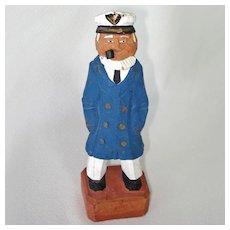 Carved Wood Folk Art Sea Captain Figure