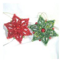 Red and Green Bottle Brush Christmas Star Ornaments