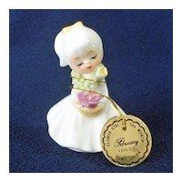 Napco Bone China Mini February Flower Girl Month Figurine
