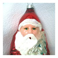 Flesh Face Decal Eyes Santa With Tree Glass Christmas Ornament