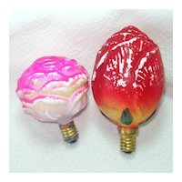 Rose, Rosebud Figural Glass Christmas Light Bulbs