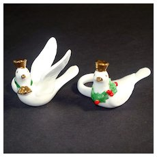 Napco Bone China Miniature Christmas Doves Candle Rings Huggers