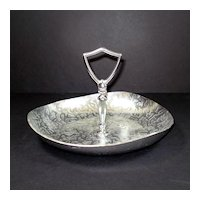 Kensington Aluminum Moire Handled Tidbit Tray Dish