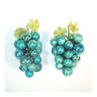 Decorative Blue Glass Grape Clusters Made With Christmas Ornaments